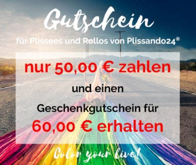 Gutschein für Plissee oder Rollo online kaufen - Wert 60 Euro